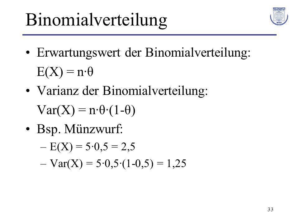 33 Binomialverteilung Erwartungswert der Binomialverteilung: E(X) = n·θ Varianz der Binomialverteilung: Var(X) = n·θ·(1-θ) Bsp. Münzwurf: –E(X) = 5·0,