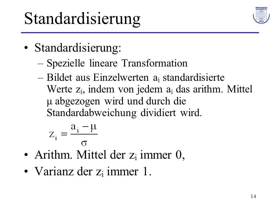 14 Standardisierung Standardisierung: –Spezielle lineare Transformation –Bildet aus Einzelwerten a i standardisierte Werte z i, indem von jedem a i da