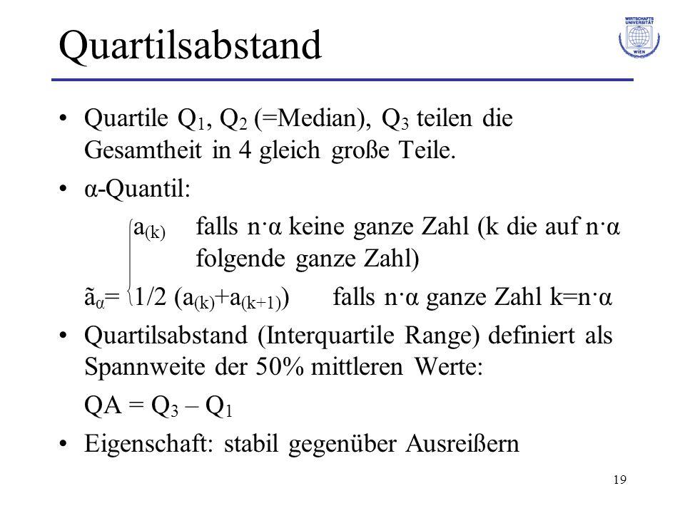 19 Quartilsabstand Quartile Q 1, Q 2 (=Median), Q 3 teilen die Gesamtheit in 4 gleich große Teile. α-Quantil: a (k) falls n·α keine ganze Zahl (k die