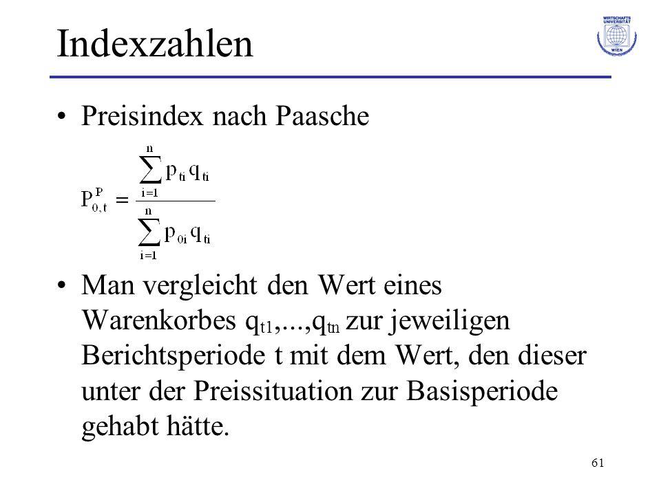 61 Indexzahlen Preisindex nach Paasche Man vergleicht den Wert eines Warenkorbes q t1,...,q tn zur jeweiligen Berichtsperiode t mit dem Wert, den dies