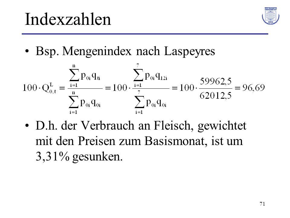 71 Indexzahlen Bsp. Mengenindex nach Laspeyres D.h. der Verbrauch an Fleisch, gewichtet mit den Preisen zum Basismonat, ist um 3,31% gesunken.