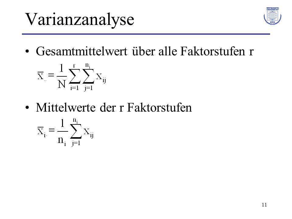 12 Varianzanalyse Beispiel: Drahtsorten i Drahtsorte j123 x..