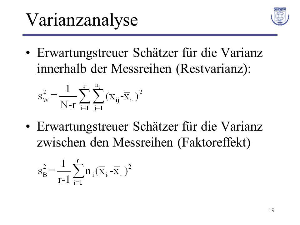 20 Varianzanalyse Mittlere Quadratsummen (MSS = Mean Sum of Squares): Quadratsummen dividiert durch entsprechende Freiheitsgrade MSB und MSW sind erwartungstreue Schätzer der Varianz zwischen- und innerhalb der Messreihen.