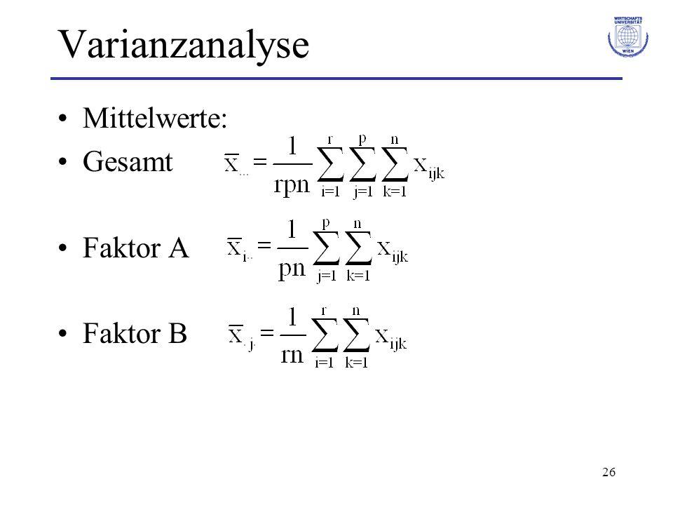 27 Varianzanalyse Schätzer für Gesamtmittel und Effekte Gesamtmittel Effekt von Faktor A Effekt von Faktor B