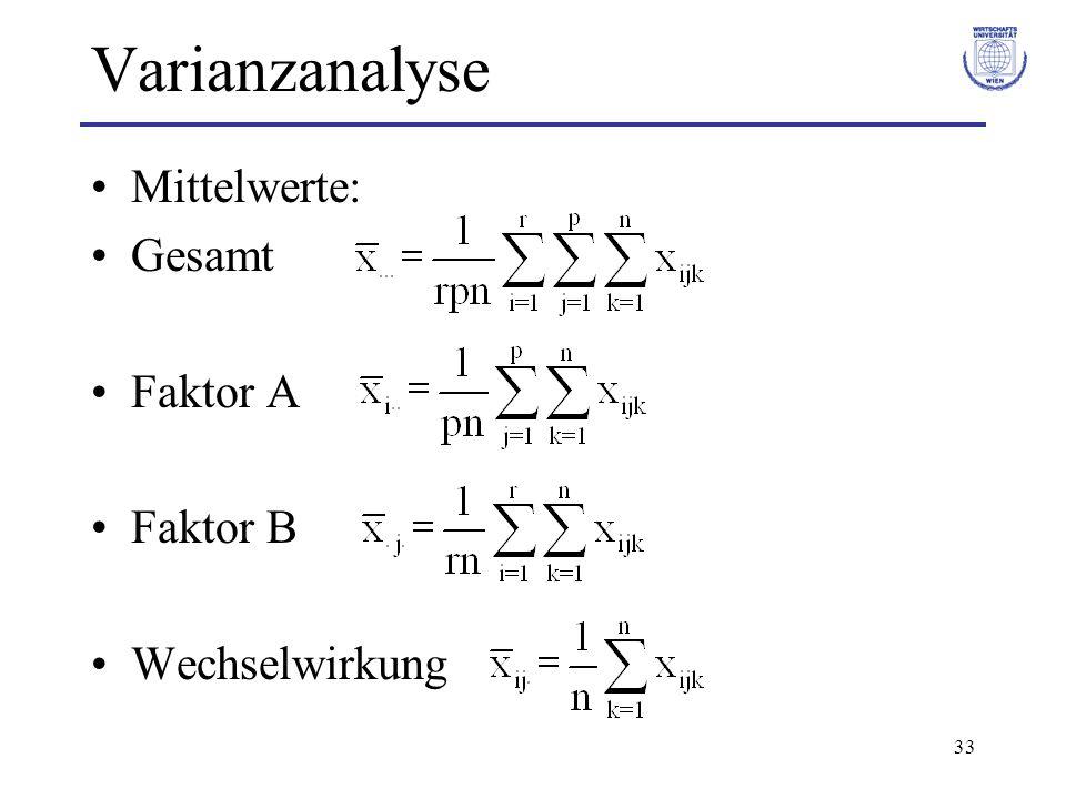33 Varianzanalyse Mittelwerte: Gesamt Faktor A Faktor B Wechselwirkung