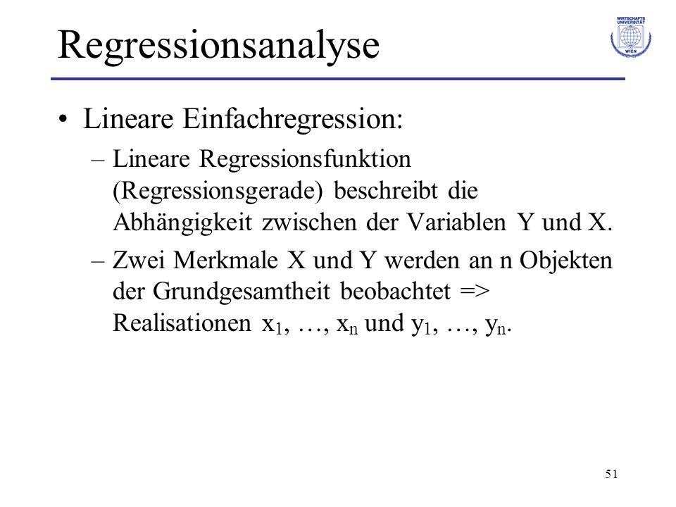 51 Regressionsanalyse Lineare Einfachregression: –Lineare Regressionsfunktion (Regressionsgerade) beschreibt die Abhängigkeit zwischen der Variablen Y