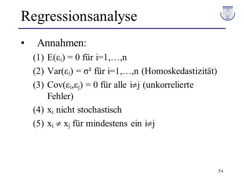 54 Regressionsanalyse Annahmen: (1)E(ε i ) = 0 für i=1,…,n (2)Var(ε i ) = σ² für i=1,…,n (Homoskedastizität) (3)Cov(ε i,ε j ) = 0 für alle i j (unkorr