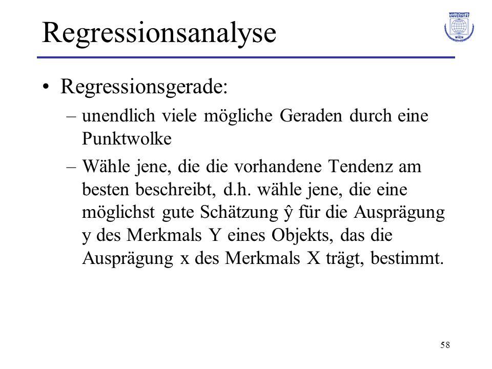 59 Regressionsanalyse Methode der Kleinsten Quadrate Kriterium für die Güte der Schätzung: Summe der Abweichungsquadrate (Residual-Quadratsumme) Wähle die Schätzer a und b für α und β so, dass S² minimal wird.