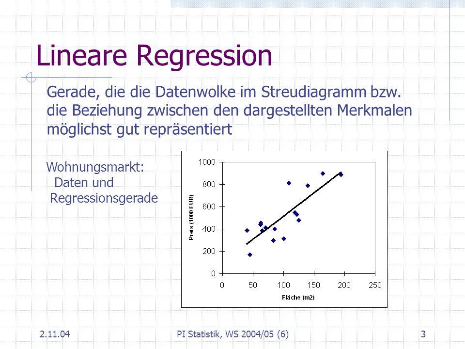 2.11.04PI Statistik, WS 2004/05 (6)4 Regression in EXCEL: Ausgabe: Zusammenfassung Regressions-Statistik Multipler Korrela- tionskoeffizient0,826 Bestimmtheitsmaß0,682 Adj.