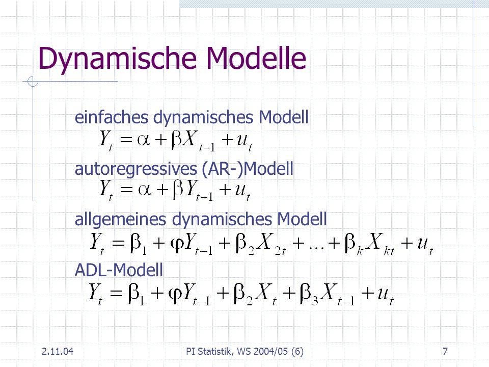 2.11.04PI Statistik, WS 2004/05 (6)18 Bestimmtheitsmaß Anteil der durch das Modell erklärten Varianz an der Gesamtvarianz der Y Es gilt 0 R 2 1 R 2 = 0 bedeutet: Modell erklärt nichts, R 2 ist das Quadrat der Korrelation zwischen und Y