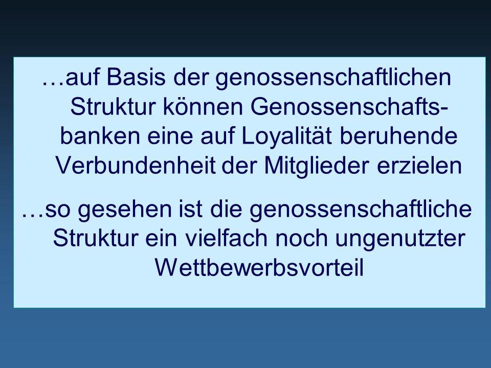 …auf Basis der genossenschaftlichen Struktur können Genossenschafts- banken eine auf Loyalität beruhende Verbundenheit der Mitglieder erzielen …so ges