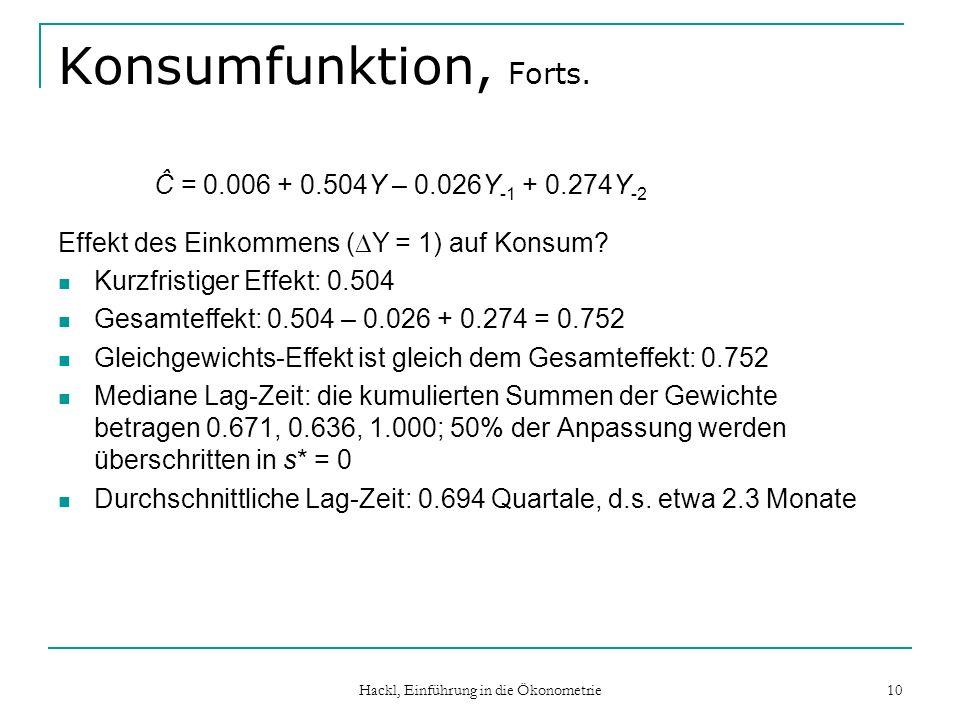 Hackl, Einführung in die Ökonometrie 10 Konsumfunktion, Forts. Ĉ = 0.006 + 0.504Y – 0.026Y -1 + 0.274Y -2 Effekt des Einkommens ( Y = 1) auf Konsum? K
