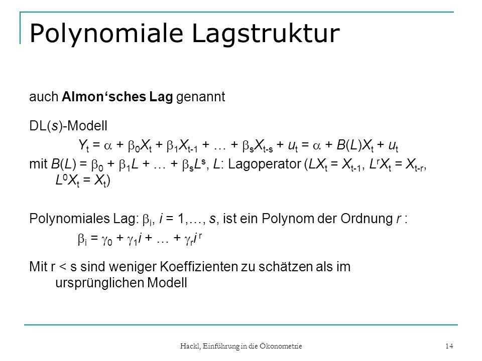 Hackl, Einführung in die Ökonometrie 14 Polynomiale Lagstruktur auch Almonsches Lag genannt DL(s)-Modell Y t = + 0 X t + 1 X t-1 + … + s X t-s + u t = + B(L)X t + u t mit B(L) = 0 + 1 L + … + s L s, L: Lagoperator (LX t = X t-1, L r X t = X t-r, L 0 X t = X t ) Polynomiales Lag: i, i = 1,…, s, ist ein Polynom der Ordnung r : i = 0 + 1 i + … + r i r Mit r < s sind weniger Koeffizienten zu schätzen als im ursprünglichen Modell