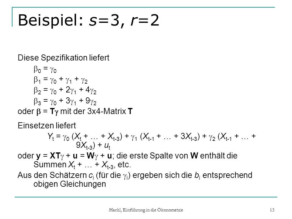Hackl, Einführung in die Ökonometrie 15 Beispiel: s=3, r=2 Diese Spezifikation liefert 0 = 0 1 = 0 + 1 + 2 2 = 0 + 2 1 + 4 2 3 = 0 + 3 1 + 9 2 oder = T mit der 3x4-Matrix T Einsetzen liefert Y t = 0 (X t + … + X t-3 ) + 1 (X t-1 + … + 3X t-3 ) + 2 (X t-1 + … + 9X t-3 ) + u t oder y = XT + u = W + u; die erste Spalte von W enthält die Summen X t + … + X t-3, etc.