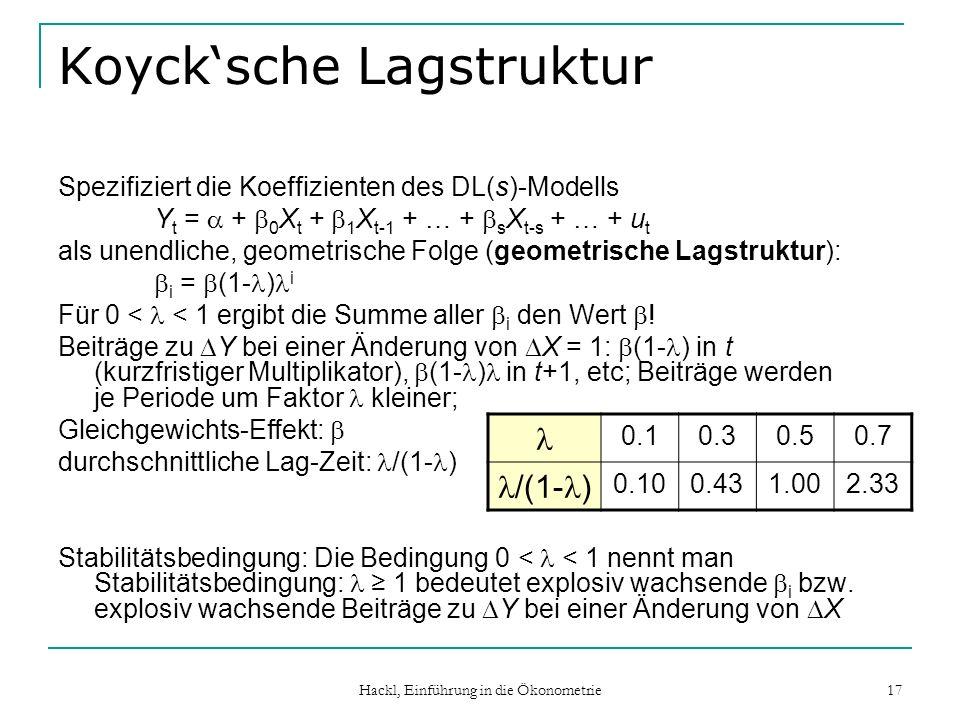 Hackl, Einführung in die Ökonometrie 17 Koycksche Lagstruktur Spezifiziert die Koeffizienten des DL(s)-Modells Y t = + 0 X t + 1 X t-1 + … + s X t-s +