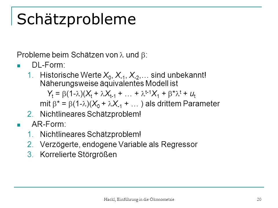 Hackl, Einführung in die Ökonometrie 20 Schätzprobleme Probleme beim Schätzen von und : DL-Form: 1.Historische Werte X 0, X -1, X -2,… sind unbekannt!