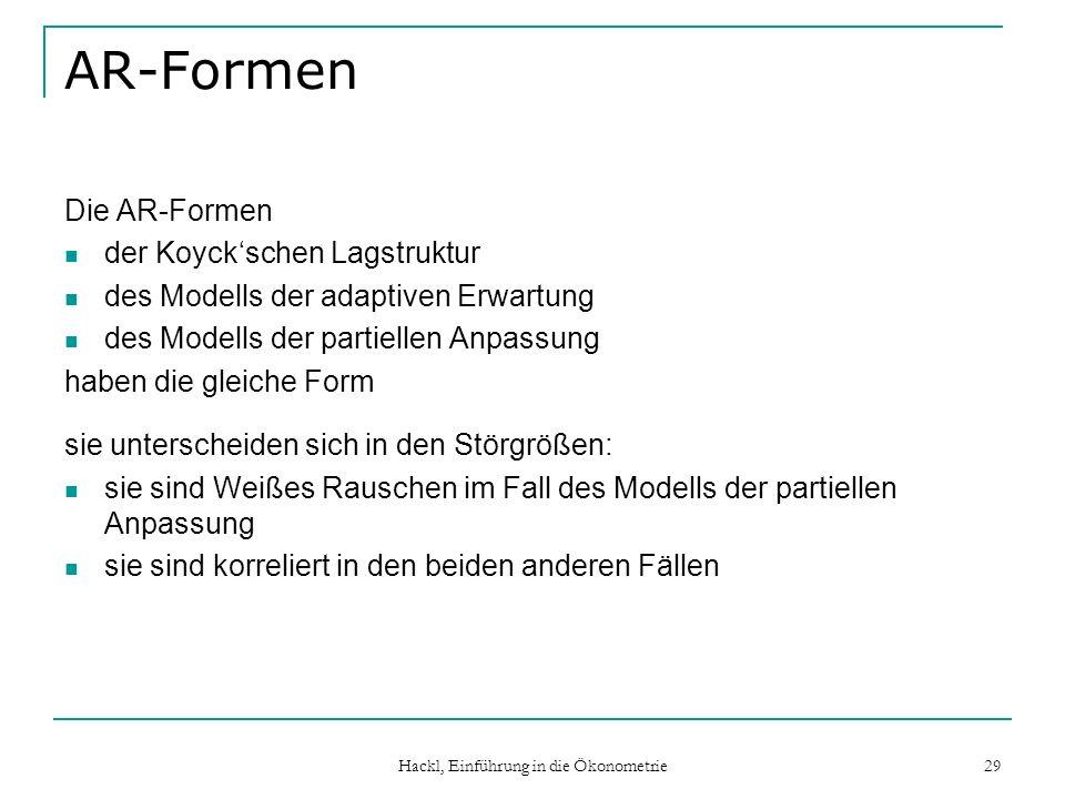 Hackl, Einführung in die Ökonometrie 29 AR-Formen Die AR-Formen der Koyckschen Lagstruktur des Modells der adaptiven Erwartung des Modells der partiel