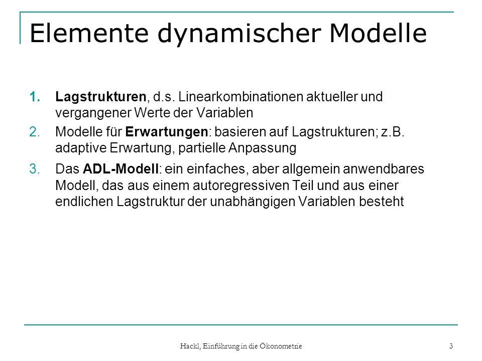 Hackl, Einführung in die Ökonometrie 3 Elemente dynamischer Modelle 1.Lagstrukturen, d.s. Linearkombinationen aktueller und vergangener Werte der Vari