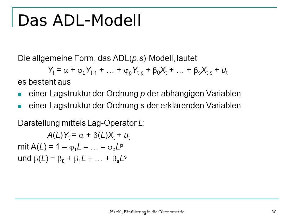 Hackl, Einführung in die Ökonometrie 30 Das ADL-Modell Die allgemeine Form, das ADL(p,s)-Modell, lautet Y t = + Y t-1 + … + p Y t-p + X t + … + s X t-s + u t es besteht aus einer Lagstruktur der Ordnung p der abhängigen Variablen einer Lagstruktur der Ordnung s der erklärenden Variablen Darstellung mittels Lag-Operator L: A(L)Y t = + (L)X t + u t mit A(L) = 1 – L – … – p L p und (L) = + L + … + s L s