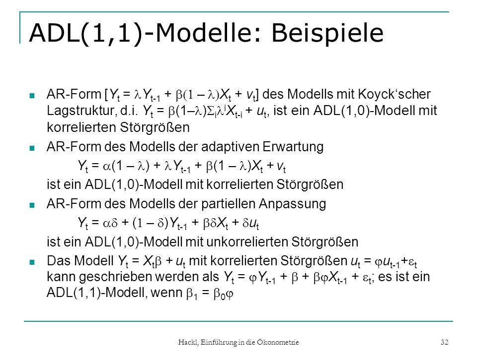 Hackl, Einführung in die Ökonometrie 32 ADL(1,1)-Modelle: Beispiele AR-Form [Y t = Y t-1 + – X t + v t ] des Modells mit Koyckscher Lagstruktur, d.i.