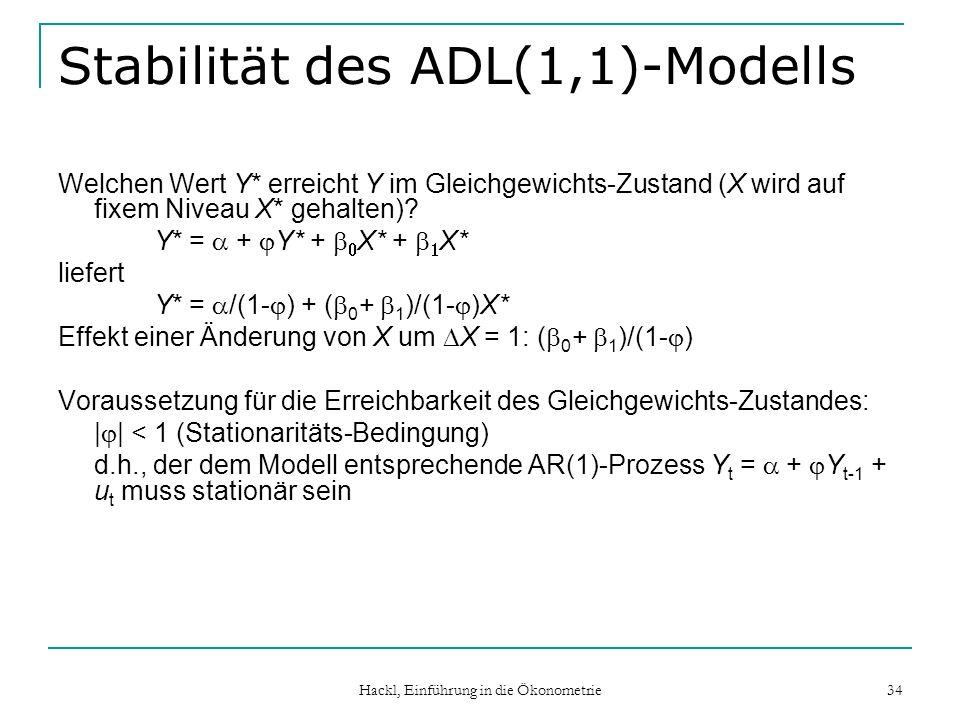Hackl, Einführung in die Ökonometrie 34 Stabilität des ADL(1,1)-Modells Welchen Wert Y* erreicht Y im Gleichgewichts-Zustand (X wird auf fixem Niveau