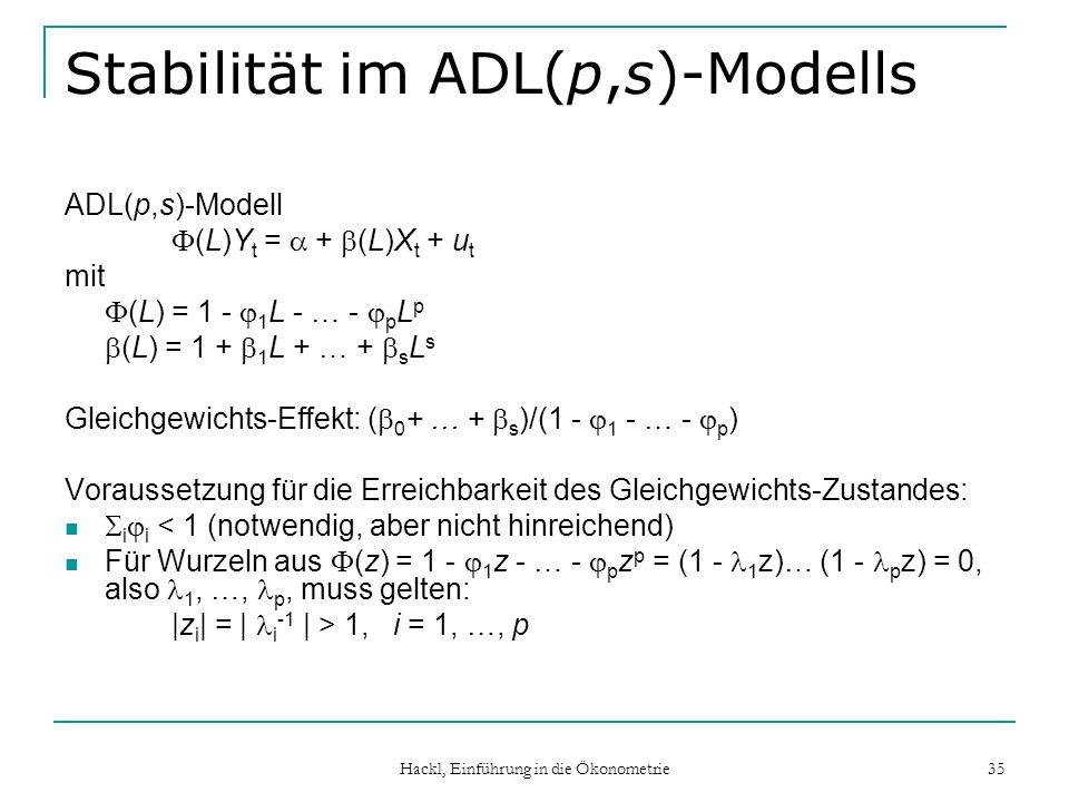 Hackl, Einführung in die Ökonometrie 35 Stabilität im ADL(p,s)-Modells ADL(p,s)-Modell (L)Y t = + (L)X t + u t mit (L) = 1 - 1 L - … - p L p (L) = 1 + 1 L + … + s L s Gleichgewichts-Effekt: ( 0 + … + s )/(1 - 1 - … - p ) Voraussetzung für die Erreichbarkeit des Gleichgewichts-Zustandes: i i < 1 (notwendig, aber nicht hinreichend) Für Wurzeln aus (z) = 1 - 1 z - … - p z p = (1 - 1 z)… (1 - p z) = 0, also 1, …, p, muss gelten: |z i | = | i -1 | > 1, i = 1, …, p