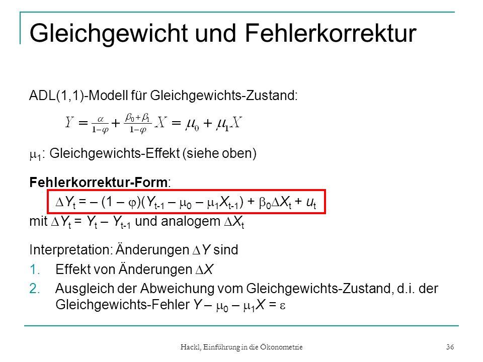 Hackl, Einführung in die Ökonometrie 36 Gleichgewicht und Fehlerkorrektur ADL(1,1)-Modell für Gleichgewichts-Zustand: 1 : Gleichgewichts-Effekt (siehe oben) Fehlerkorrektur-Form: Y t = – (1 – )(Y t-1 – 0 – 1 X t-1 ) + 0 X t + u t mit Y t = Y t – Y t-1 und analogem X t Interpretation: Änderungen Y sind 1.Effekt von Änderungen X 2.Ausgleich der Abweichung vom Gleichgewichts-Zustand, d.i.