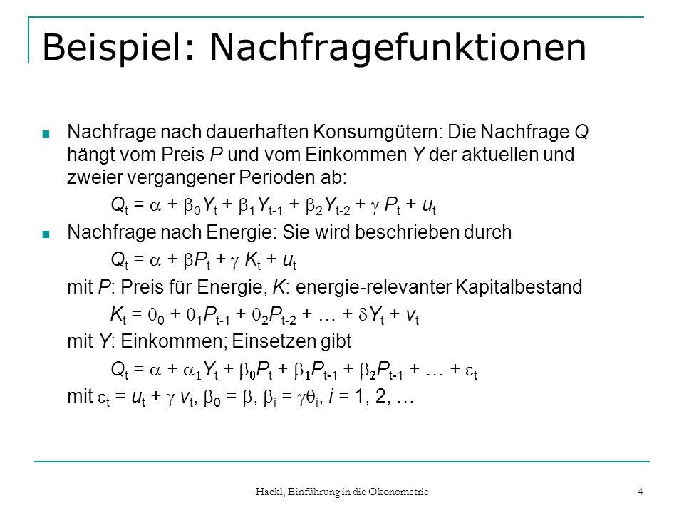 Hackl, Einführung in die Ökonometrie 35 Stabilität im ADL(p,s)-Modells ADL(p,s)-Modell (L)Y t = + (L)X t + u t mit (L) = 1 - 1 L - … - p L p (L) = 1 + 1 L + … + s L s Gleichgewichts-Effekt: ( 0 + … + s )/(1 - 1 - … - p ) Voraussetzung für die Erreichbarkeit des Gleichgewichts-Zustandes: i i < 1 (notwendig, aber nicht hinreichend) Für Wurzeln aus (z) = 1 - 1 z - … - p z p = (1 - 1 z)… (1 - p z) = 0, also 1, …, p, muss gelten:  z i   =   i -1   > 1, i = 1, …, p