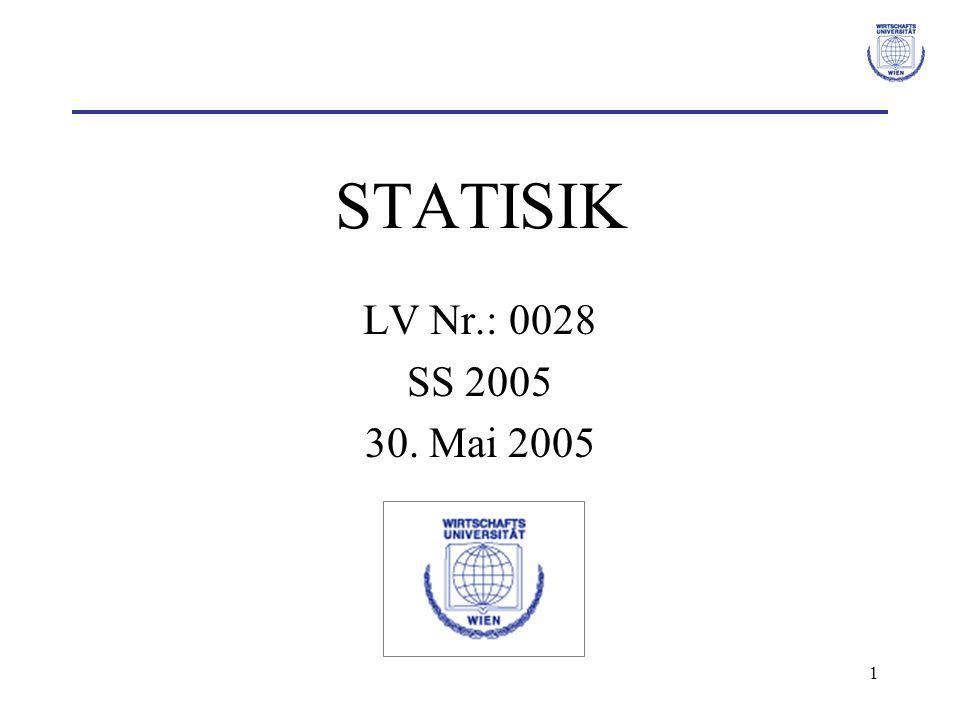 62 χ² Homogenitätstest Teststatistik χ²: –Abweichung beobachteten Häufigkeiten und erwartete Häufigkeiten Verteilung der Teststatistik χ²: χ²-Verteilung mit v = (r-1)·(s-1) Freiheitsgraden