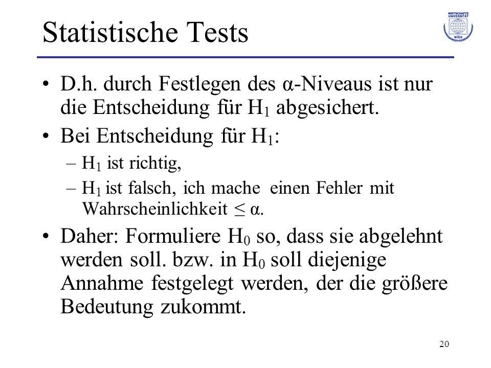 20 Statistische Tests D.h. durch Festlegen des α-Niveaus ist nur die Entscheidung für H 1 abgesichert. Bei Entscheidung für H 1 : –H 1 ist richtig, –H