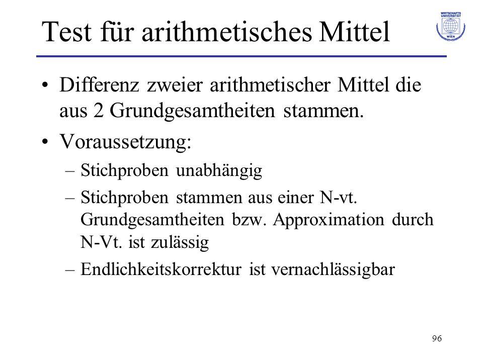 96 Test für arithmetisches Mittel Differenz zweier arithmetischer Mittel die aus 2 Grundgesamtheiten stammen. Voraussetzung: –Stichproben unabhängig –