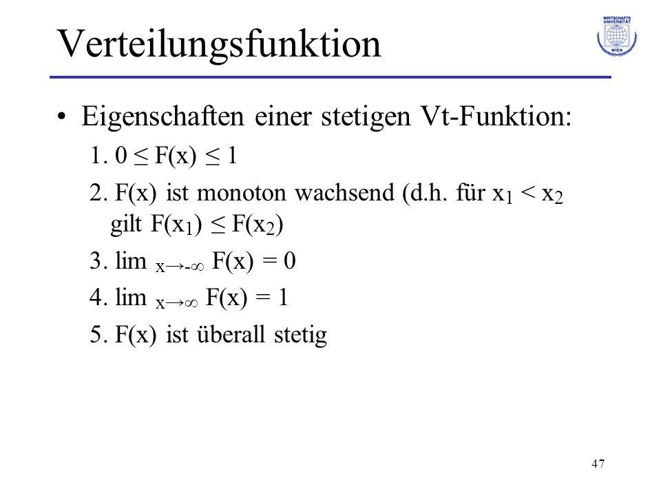 47 Verteilungsfunktion Eigenschaften einer stetigen Vt-Funktion: 1. 0 F(x) 1 2. F(x) ist monoton wachsend (d.h. für x 1 < x 2 gilt F(x 1 ) F(x 2 ) 3.