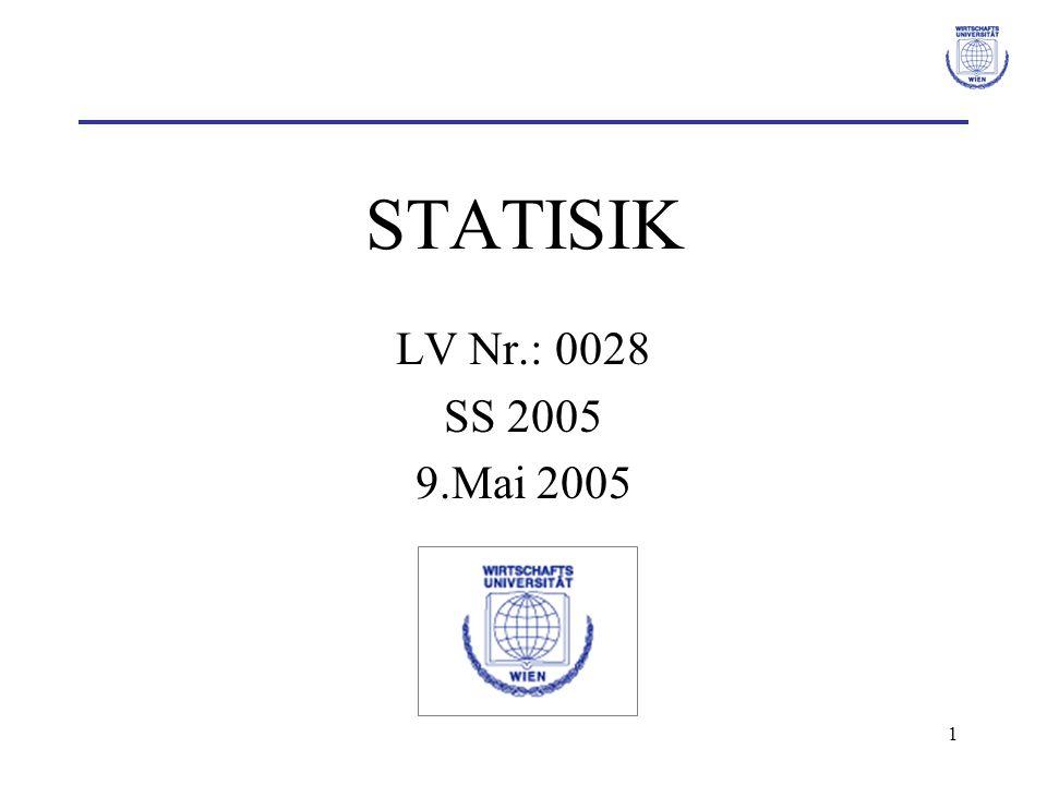 2 Literatur Bleymüller, Gehlert, Gülicher: Statistik für Wirtschaftswissenschaftler, Verlag Vahlen Hartung: Statistik.
