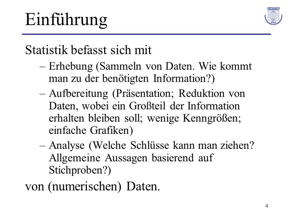 4 Einführung Statistik befasst sich mit –Erhebung (Sammeln von Daten. Wie kommt man zu der benötigten Information?) –Aufbereitung (Präsentation; Reduk