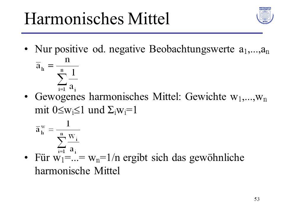 53 Harmonisches Mittel Nur positive od. negative Beobachtungswerte a 1,...,a n Gewogenes harmonisches Mittel: Gewichte w 1,...,w n mit 0 w i 1 und Σ i