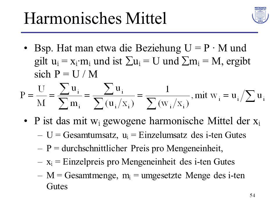 54 Harmonisches Mittel Bsp. Hat man etwa die Beziehung U = P · M und gilt u i = x i ·m i und ist u i = U und m i = M, ergibt sich P = U / M P ist das