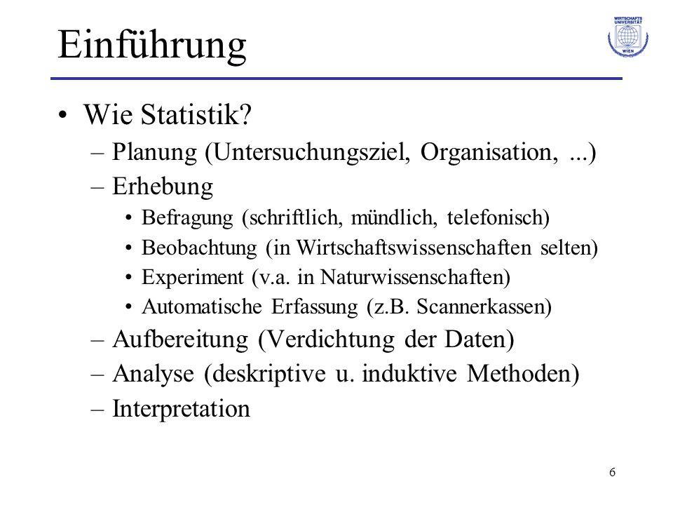 6 Einführung Wie Statistik? –Planung (Untersuchungsziel, Organisation,...) –Erhebung Befragung (schriftlich, mündlich, telefonisch) Beobachtung (in Wi