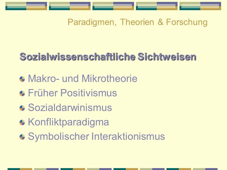 Paradigmen, Theorien & Forschung Sozialwissenschaftliche Sichtweisen Makro- und Mikrotheorie Früher Positivismus Sozialdarwinismus Konfliktparadigma S