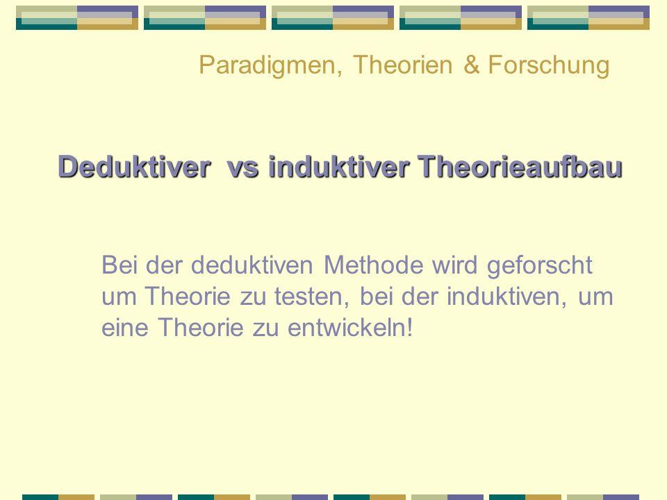Paradigmen, Theorien & Forschung Deduktiver vs induktiver Theorieaufbau Bei der deduktiven Methode wird geforscht um Theorie zu testen, bei der indukt