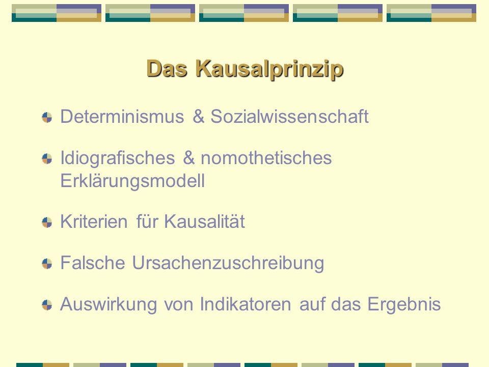 Das Kausalprinzip Determinismus & Sozialwissenschaft Idiografisches & nomothetisches Erklärungsmodell Kriterien für Kausalität Falsche Ursachenzuschre