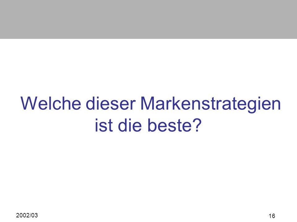2002/03 16 Welche dieser Markenstrategien ist die beste?