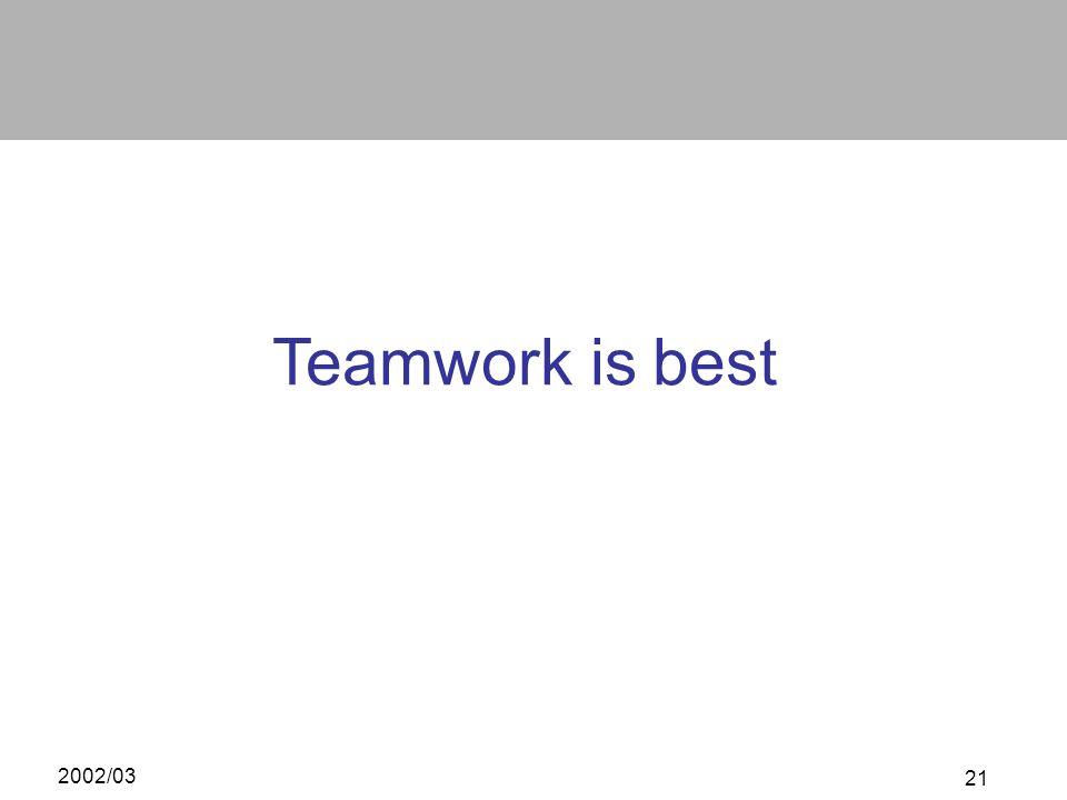 2002/03 21 Teamwork is best