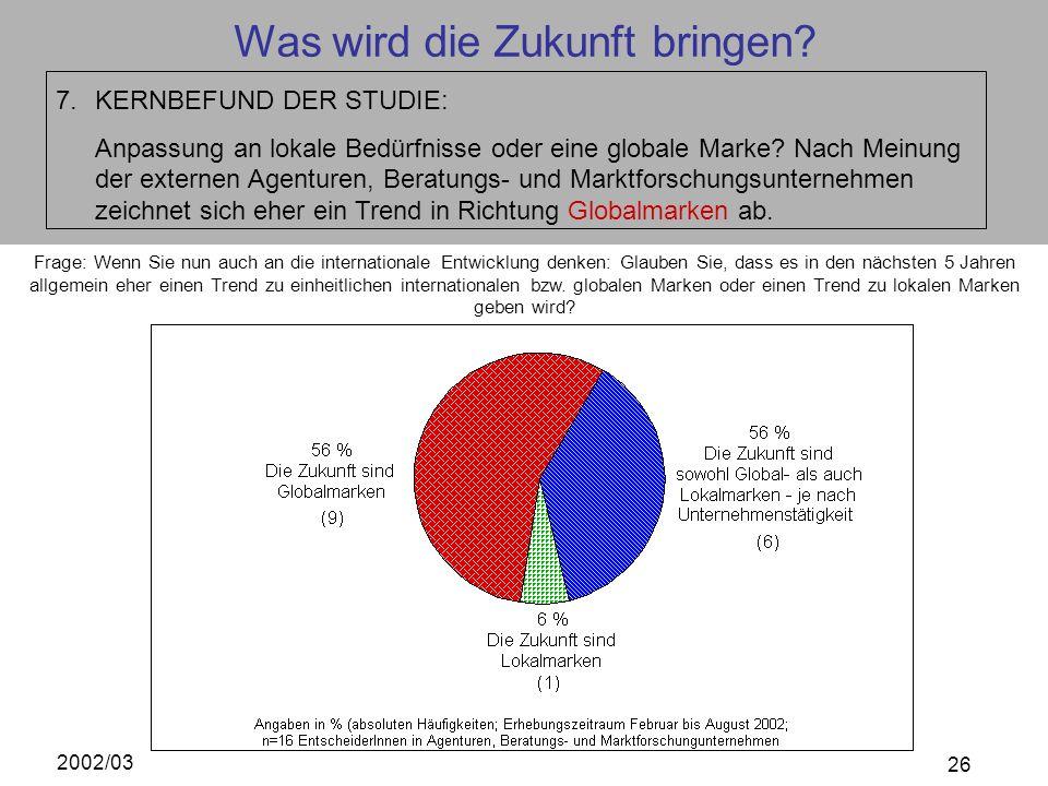 2002/03 26 Was wird die Zukunft bringen? 7.KERNBEFUND DER STUDIE: Anpassung an lokale Bedürfnisse oder eine globale Marke? Nach Meinung der externen A