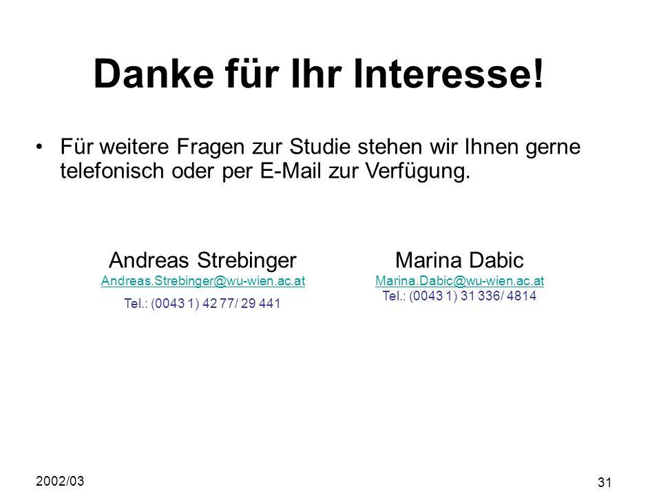 2002/03 31 ACHTUNG! Danke für Ihr Interesse! Für weitere Fragen zur Studie stehen wir Ihnen gerne telefonisch oder per E-Mail zur Verfügung. Andreas S