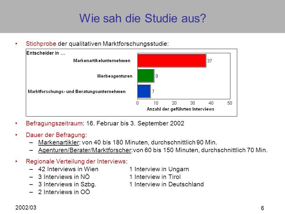2002/03 6 Wie sah die Studie aus? Stichprobe der qualitativen Marktforschungsstudie: Befragungszeitraum: 16. Februar bis 3. September 2002 Dauer der B