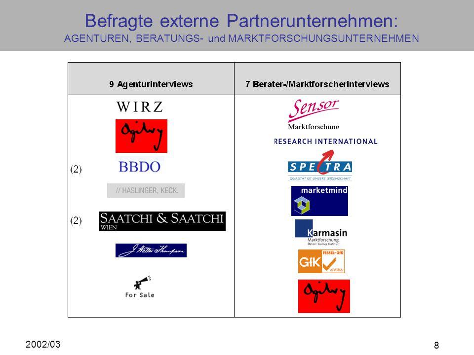 2002/03 8 Befragte externe Partnerunternehmen: AGENTUREN, BERATUNGS- und MARKTFORSCHUNGSUNTERNEHMEN