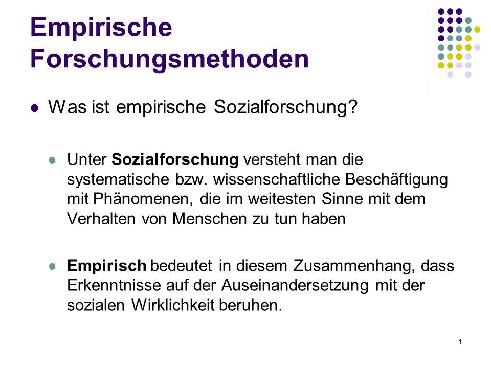 1 Empirische Forschungsmethoden Was ist empirische Sozialforschung.