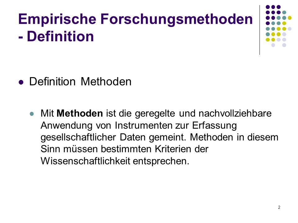 2 Empirische Forschungsmethoden - Definition Definition Methoden Mit Methoden ist die geregelte und nachvollziehbare Anwendung von Instrumenten zur Erfassung gesellschaftlicher Daten gemeint.
