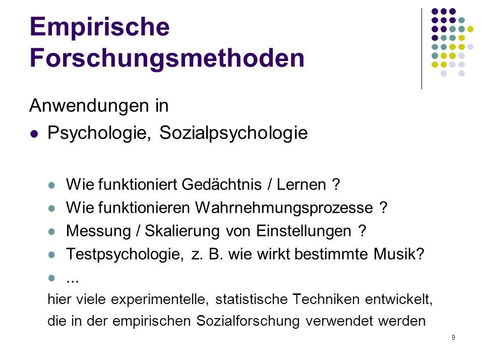 9 Empirische Forschungsmethoden Anwendungen in Psychologie, Sozialpsychologie Wie funktioniert Gedächtnis / Lernen ? Wie funktionieren Wahrnehmungspro
