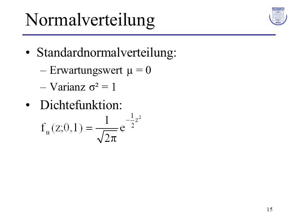 15 Normalverteilung Standardnormalverteilung: –Erwartungswert µ = 0 –Varianz σ² = 1 Dichtefunktion: